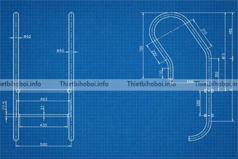 Bản vẽ thang bể bơi Kripsol mxi series