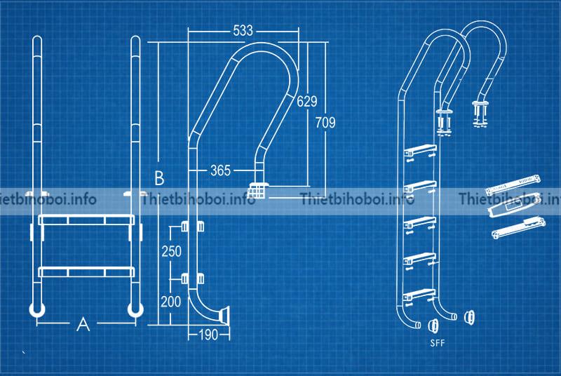 Bản vẽ thang bể bơi emaux sff215-p