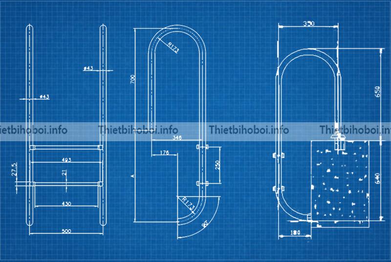 bản vẽ thang bể bơi Kripsol Im2c