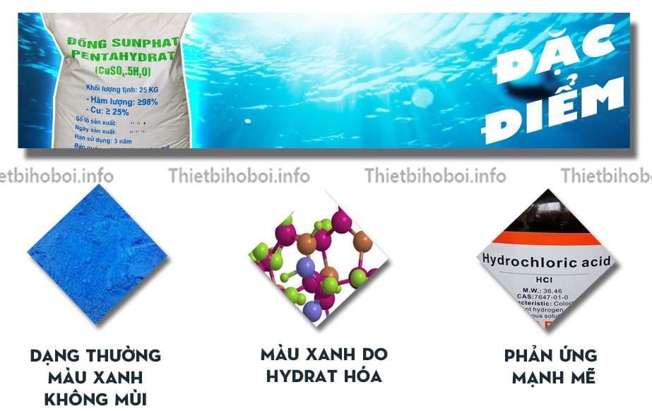 Đặc điểm hóa chất bể bơi đồng bột CUSO4