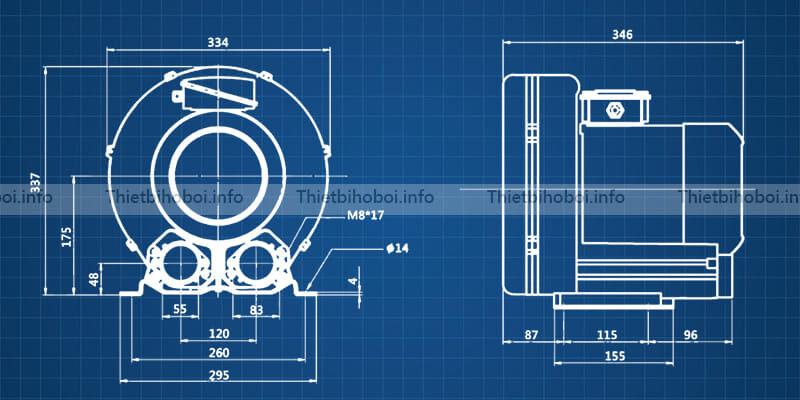 bản vẽ máy thổi khí con sò HCY1100C