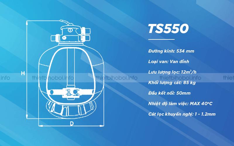 Bình lọc cát TS550 có đường kính 534mm