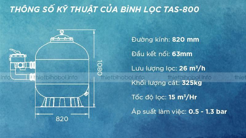 thông số kỹ thuật bình lọc cát TAS-800