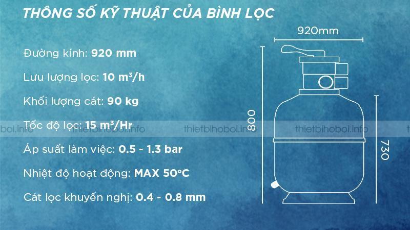 thông số kỹ thuật bình lọc cát TAT-500