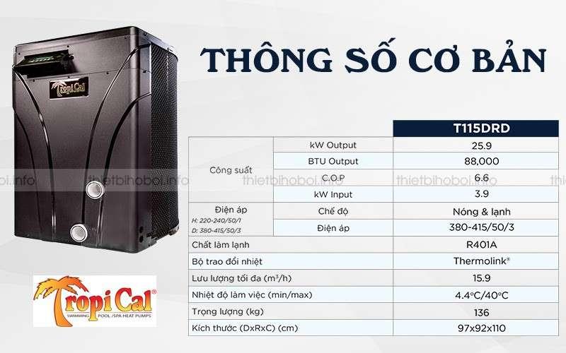 Thông số cơ bản Cấp nhiệt Mỹ T115DRD