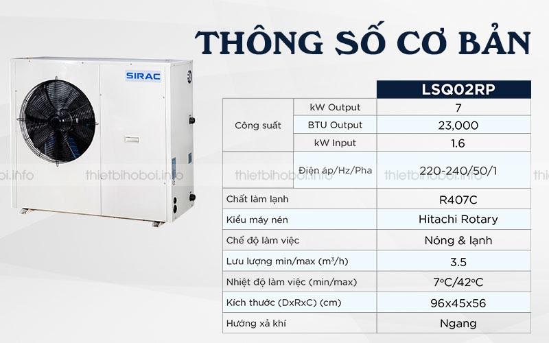 thong so co ban Máy cấp nhiệt SIRAC LSQ02RP