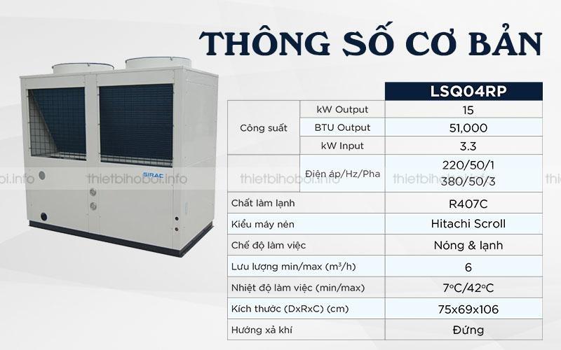 Thông số cơ bản của Máy cấp nhiệt SIRAC LSQ04RP
