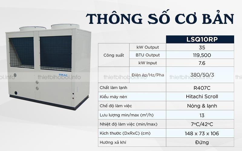 Thông số Máy cấp nhiệt SIRAC LSQ10RP